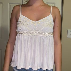 Flowy tank top with floral shimmery detail